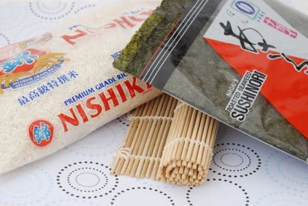 Supplies for making sushi rolls