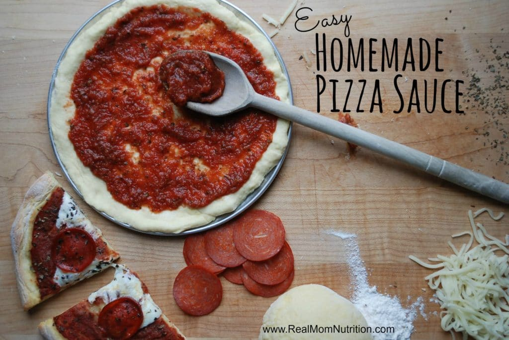 Homemade pizza sauce from real mom nutrition