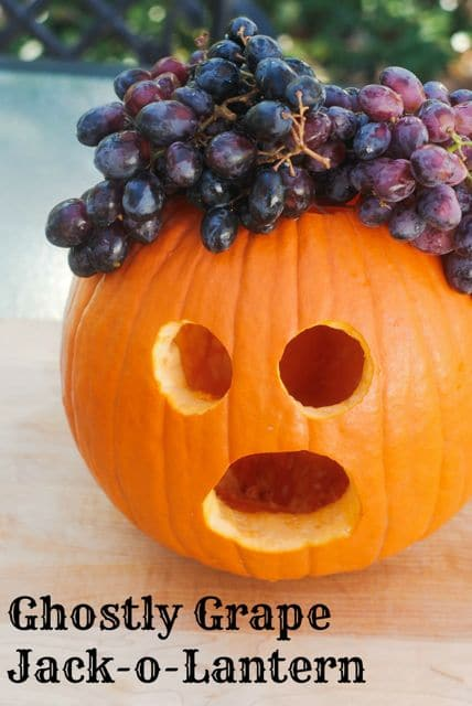 Ghostly Grape Jack-o-Lantern: Healthy Treats for Classroom Halloween Parties