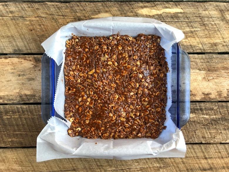 homemade granola bars in a pan