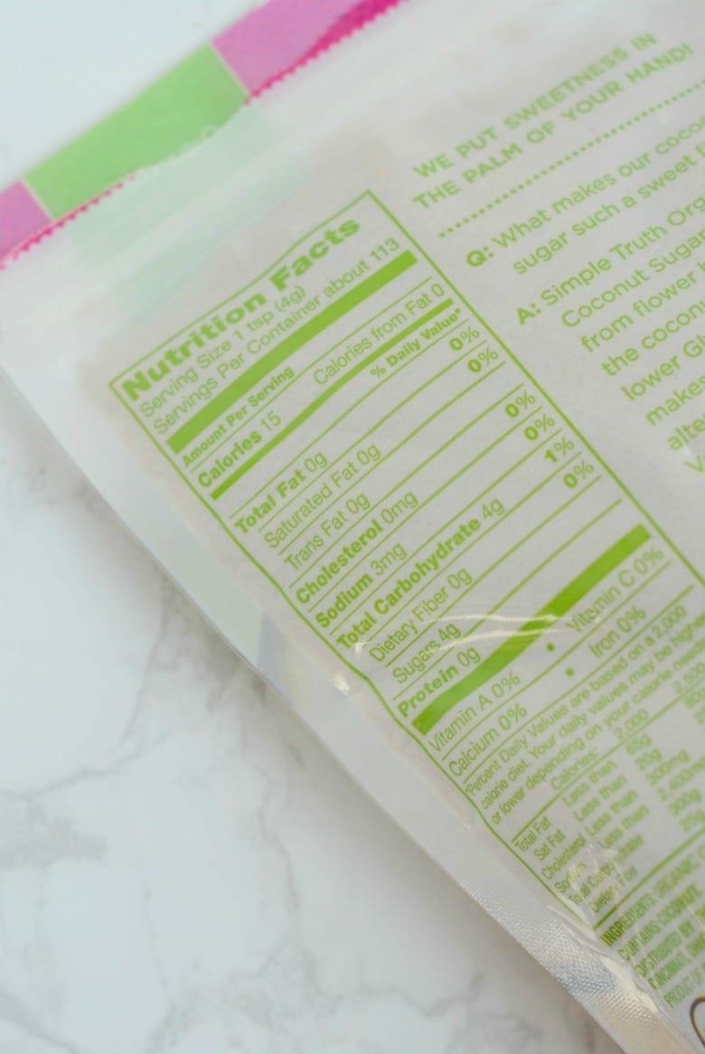 Coconut Sugar Food Label
