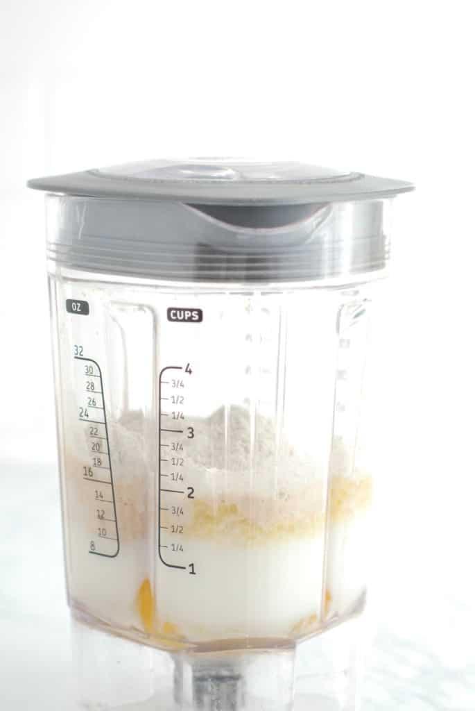 Crepe ingredients in a blender