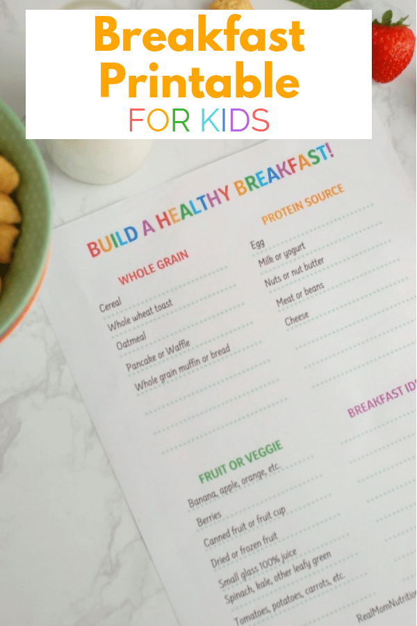 Build a Healthy Breakfast Printable
