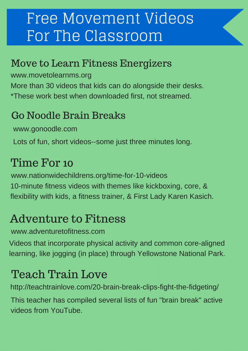 Free Printable: Movement Videos for the Classroom