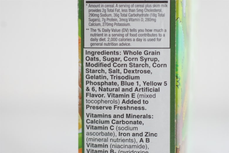 Ingredient label with synthetic food dyes