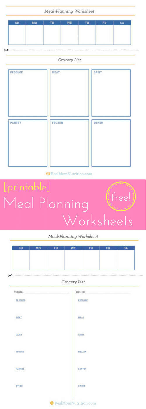 Free Meal Planning Worksheets