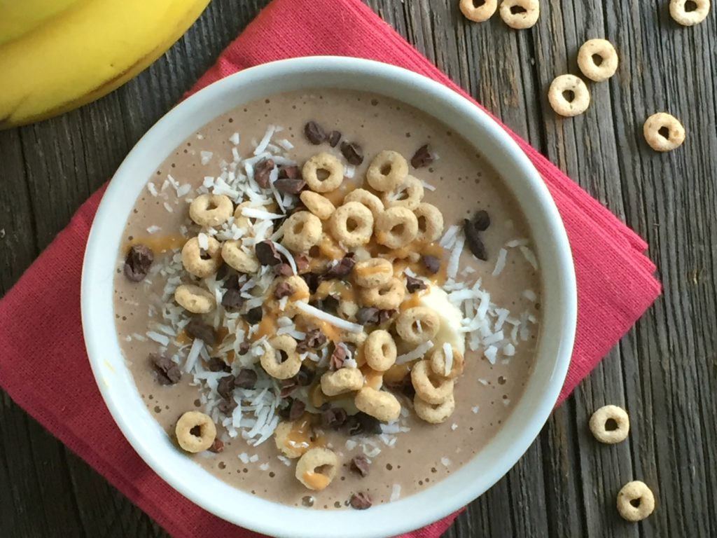 Chocolate Peanut Butter Cereal Smoothie Bowl