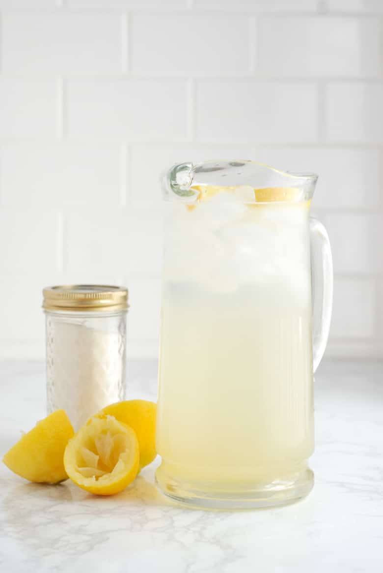 Pitcher of homemade lemonade