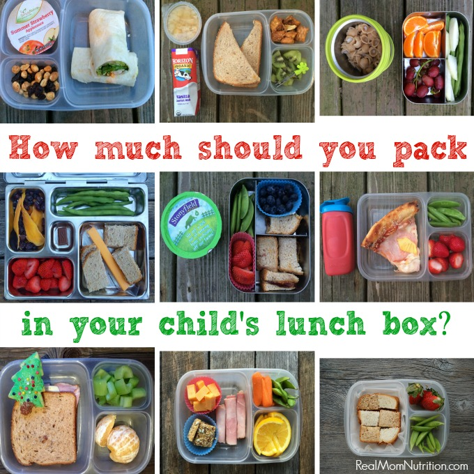 How much should you pack in your child's lunch box? Advice from a dietitian on lunch box portion sizes.