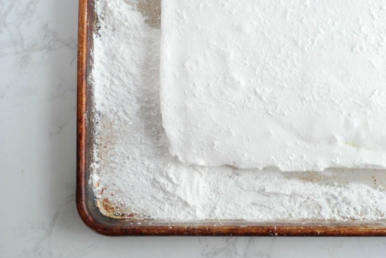 Marshmallows in a pan