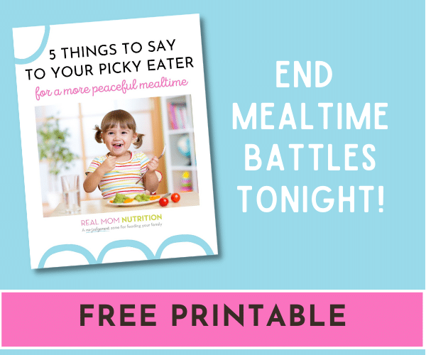 Free Printable! 5 Things to Say to Your Picky Eater for a More Peaceful Mealtime