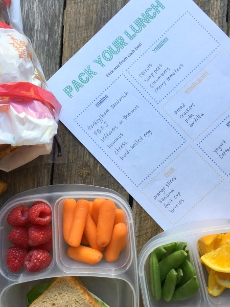 Free printable to teach kids to pack lunch!