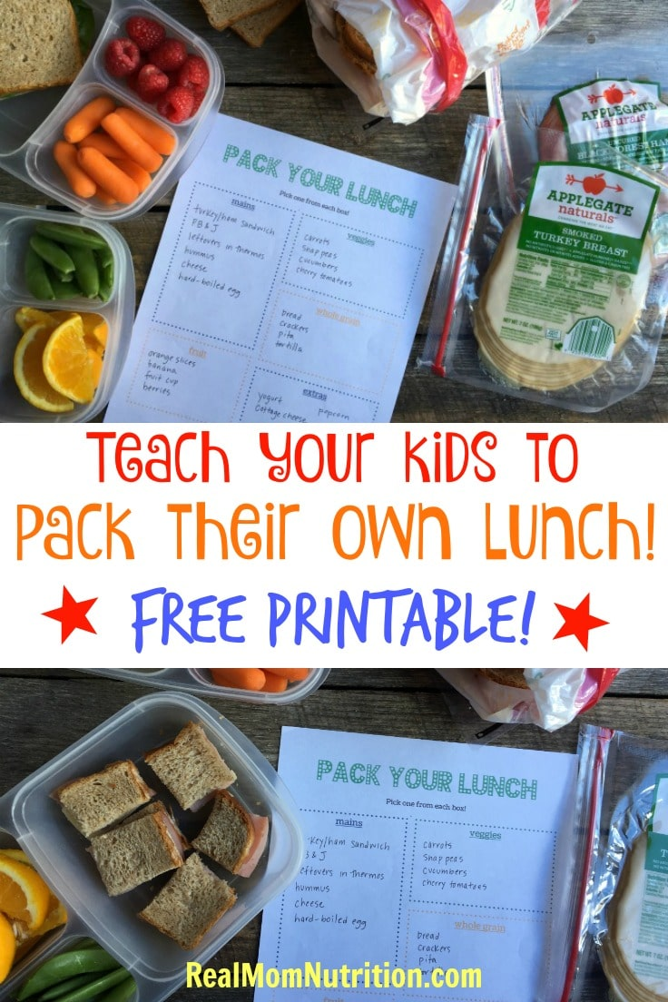 Teach your kids to pack their own HEALTHY lunch with this free printable!