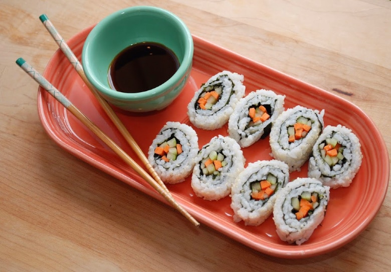 Cucumber Sushi Rolls with soy sauce