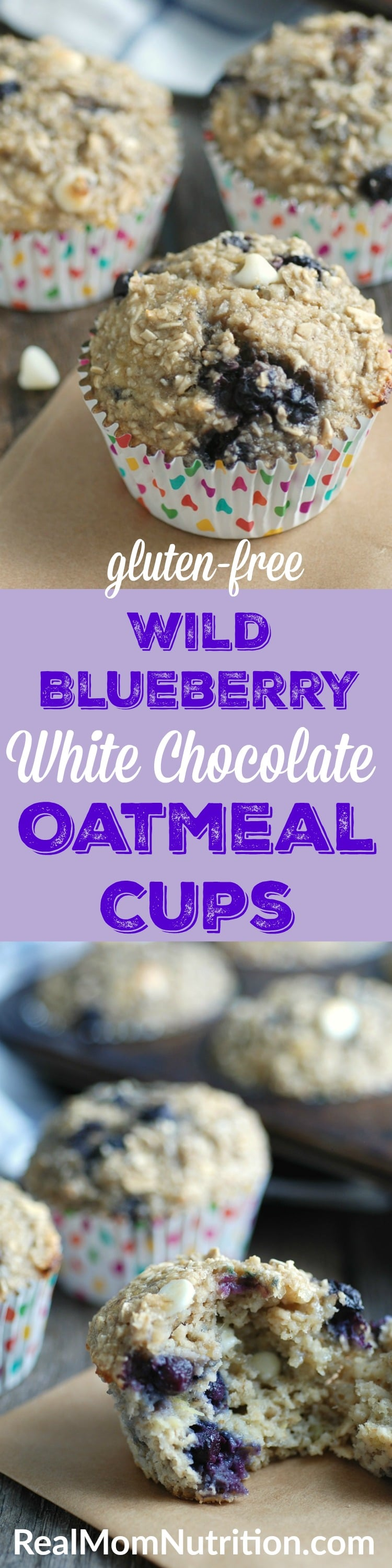 Gluten-Free Wild Blueberry and White Chocolate Oatmeal Cups